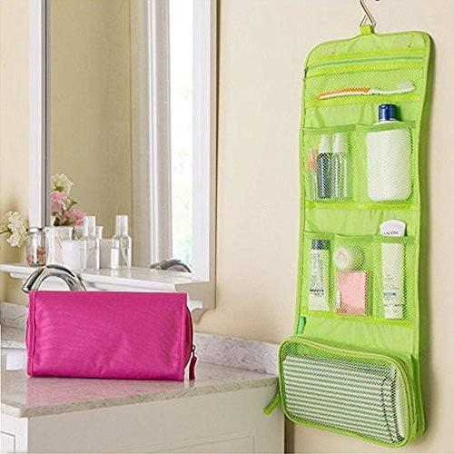 トラべラブ圧縮バッグ 多機能化粧品袋旅行ビジネスポータブルウォッシュバッグ収納ハンギングバッグTグリーン トラベルポーチ 出張 旅行 便利グッズ (Color : Green, Size : Free size)