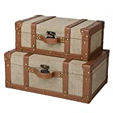 SLPR Carson Wooden Fabric-Covered Suitcase Boxes (Set of 2, Beige)   Old-Fashioned Antique Vintage Style Nesting Trunks for Shelf Home Decor Birthday Parties Wedding Decoration Displays Crafts