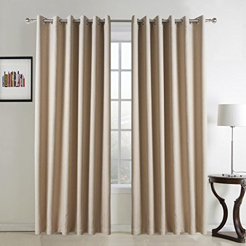"""TWOPAGES Classic Solid Faux Linen Grommet Top Room Darkening Curtain (One Panel) 72Wx102""""L"""