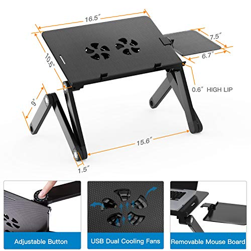 Adjustable Laptop Stand for Bed & Sofa,Portable Laptop Table Stand with 2 CPU Cooling Fans,Removable Mouse Board,Ergonomic Lap Desk TV Bed Tray Standing Desk by HUANUO