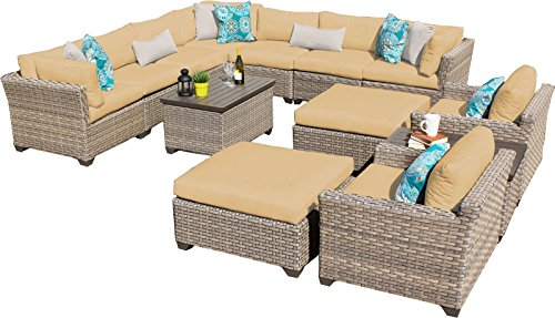 TK Classics 13 Piece Monterey Outdoor Wicker Patio Furniture Set, Sesame price