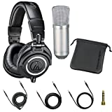 Audio Technica ATH-M50x Professional Studio Monitor Headphones with Falcon UC-01 Professional Condenser Studio Microphone with Shock Mount Bundle