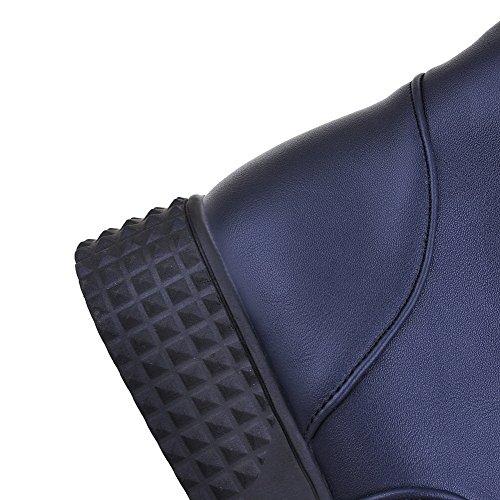 Allhqfashion Womens Pu Low-top Solido Lace-up Stivali Bassi Blu