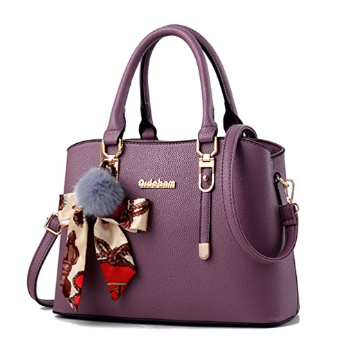 Purple Satchel Handbag - 6