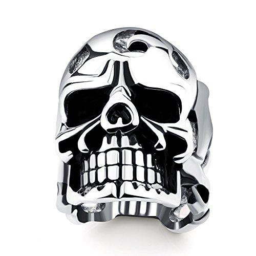 Men's Statement Skull Theme Rings Titanium Steel Cool Wedding Ring Man Accessories Diameter 20