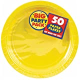 AMSCAN Big Party Pack Paper Luncheon Plates 7-Inch, 50/Pkg, Sunshine Yellow, Health Care Stuffs