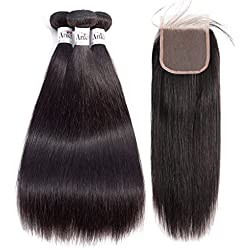 Anknia 8A Brazilian Straight Virgin Hair 3 Bundles With Closure Weave Human Hair Bundles With Closure Remy Hair Extensions Natural Color 4x4 Inch Lace Closure Free Part With Baby Hair (12 14 16 + 10)