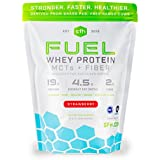 FUEL Whey Protein Powder (Strawberry) by SFH | Great Tasting Grass Fed Whey | MCTs & Fiber for Energy | All Natural Soy Free, Gluten Free, No RBST, No Artificial Flavors | 2lb Bag (896g) 28 Servings