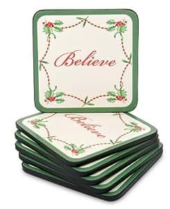 Amazon.com | Spode Christmas Tree Hardboard Coasters ...