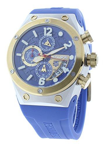 Technosport TS-820-3 Unisex Chronograph Light Blue Watch Gold Bezel GMT