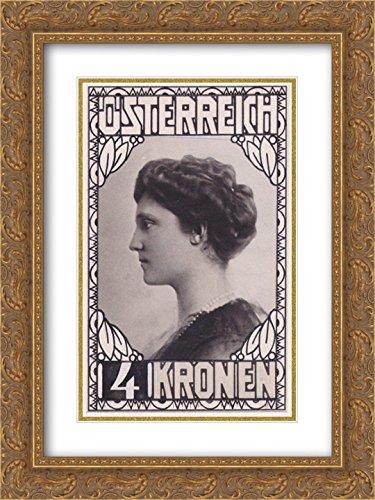 (Koloman Moser 2X Matted 20x24 Gold Ornate Framed Art Print 'Stamp Design Empress Zita (not Accepted)')