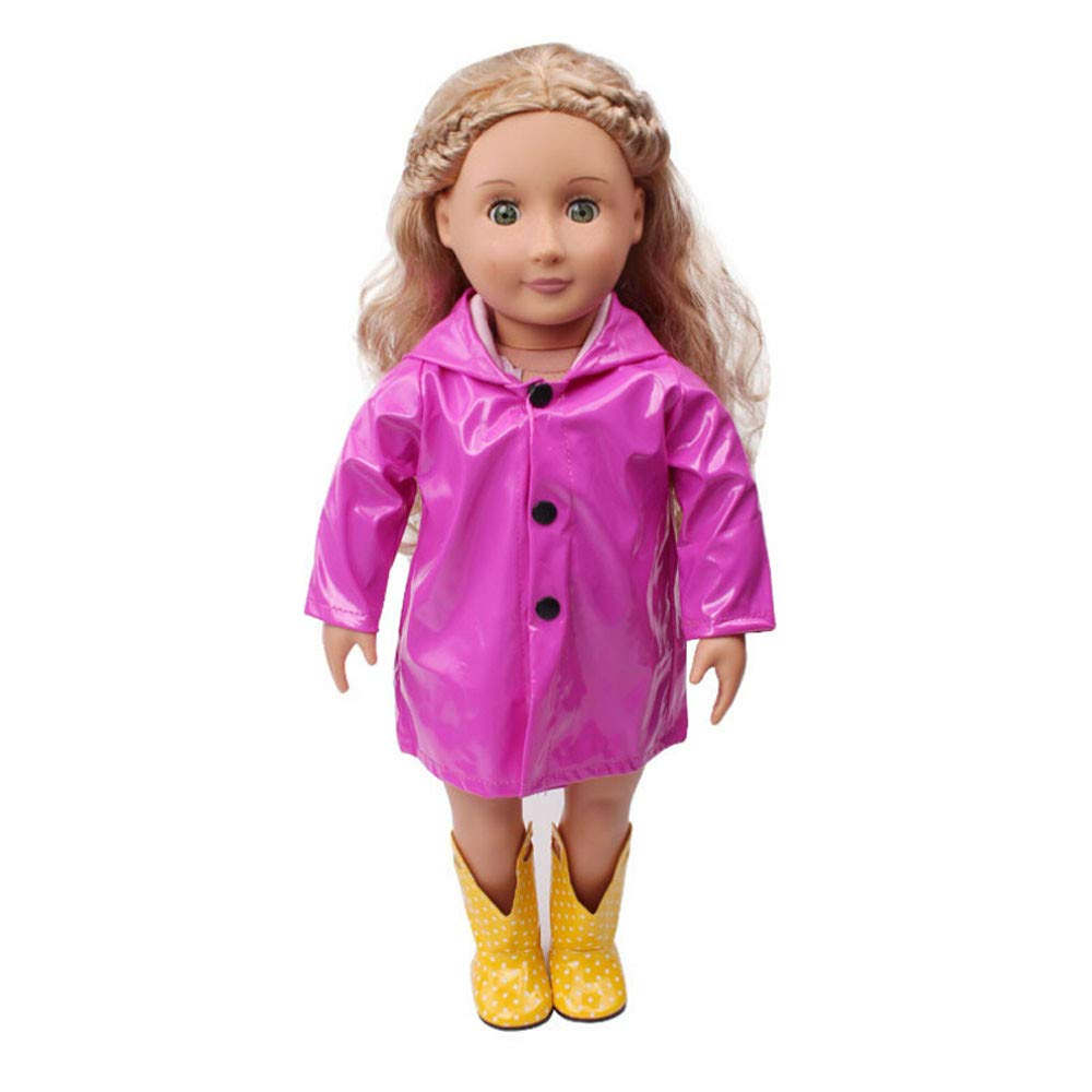 Kasien Doll Rain Clothes, Rain Clothes Dress Hat For American Girl 18 Inch Doll Accessory Girl Toy (Hot Pink)