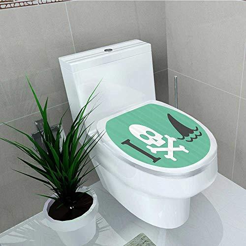 (Printsonne Toilet Seat Sticker eLove Themed Creepy Dead Skull Head Cross s Fun Danger Waterproof Decorative Toilet Cover Stickers W13 x L16)