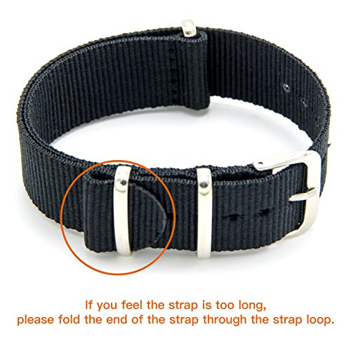 Nato Strap 4 Packs - 20mm 22mm Premium Ballistic Nylon Watch Bands Zulu Style with Stainless Steel Buckle (Black+Navy Red+Linen Navy+Navy White, 20mm) Photo #9