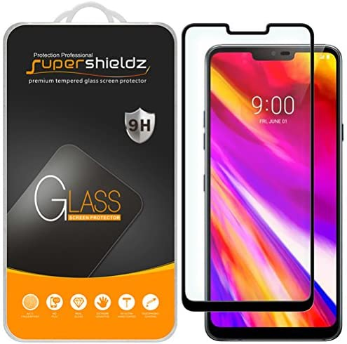 (2 Pack) Supershieldz for LG G7 ThinQ Tempered Glass Screen Protector, (Full Cover) (3-D Curved Glass) Anti Scratch, Bubble Free (Black)
