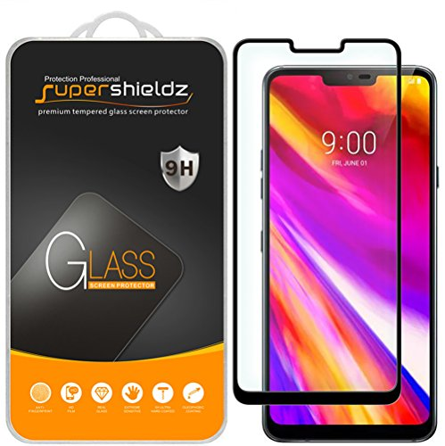 [2-Pack] Supershieldz for LG G7 ThinQ Tempered Glass Screen Protector, [Full Cover][3D Curved Glass] Anti-Scratch, Bubble Free, Lifetime Replacement Warranty (Black)