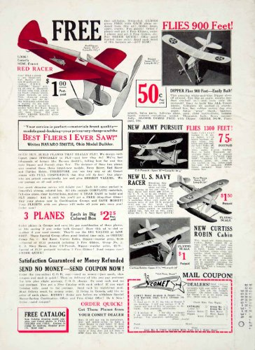 1932 Ad Comet Biplane Model Toy Airplane Navy Racer Dipper Navaro Smith GLider - Original Print Ad