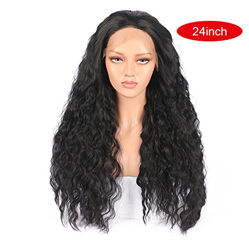 Black Long Curly Wavy Synthetic Hair Wig for Women Foviza Lace Front Wigs Cosplay Full Wig