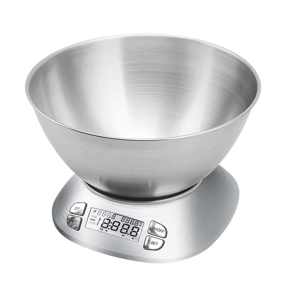 Digital Kitchen Scale with Removable Bowl 2.5L Volume, Electronic Stainless Steel Food Scale for Cooking Baking, Room Temperature, Alarm Timer, 12lb 5.5kg, Batteries Included