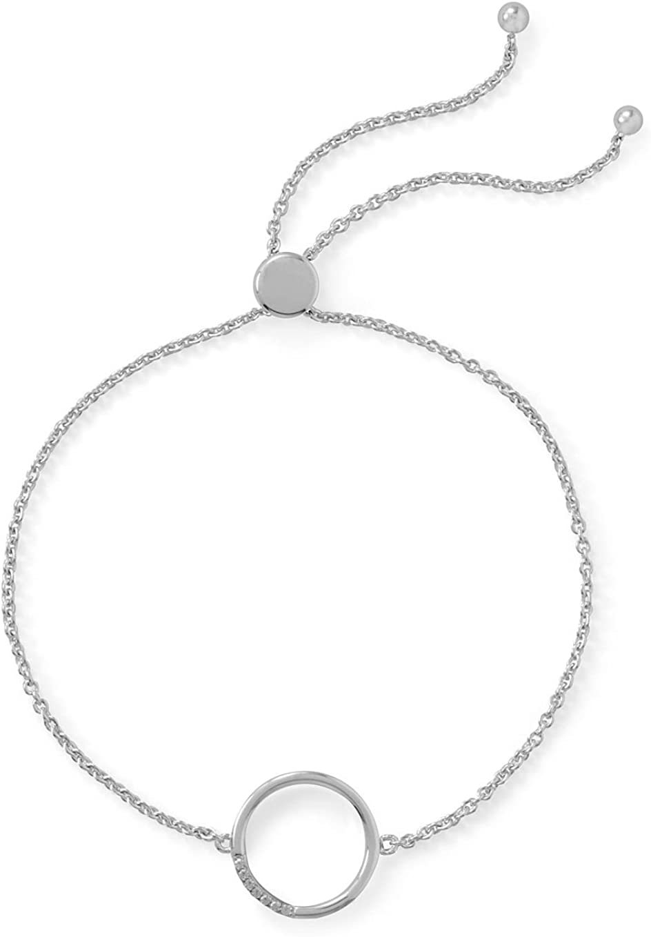 Adjusts to 9-1//2 inches Rhodium Plated Sterling Silver Pave CZ Circle Bolo Bracelet