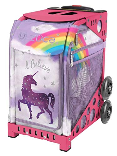 Zuca Unicorn Sport Insert Bag and Pink Frame with Flashing Wheels