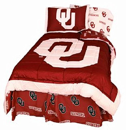Oklahoma Sooners (4) Piece FULL Size Reversible Comforter Set - (NOTE: DUST RUFFLE BEDSKIRT INCLUDED!) - Set Includes: (1) FULL Size Comforter, (2) Shams and (1) Dust Ruffle Bedskirt (Oklahoma Full Comforter Sooners)
