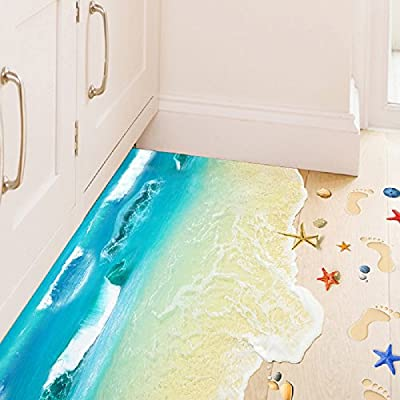 Amaonm Fashion Creative Removable 3D Blue Sea Beach Views Wall Stickers Murals DIY Nursery art Rooms Decals Decor Girls Decal Wallpaper for Bedroom Bathroom Washroom Bathroom Floor Window Decoration