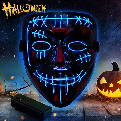 YXwin Purge Mask Light up LED Halloween Mask for Adults Men Women Boys Girls (Blue1, Scar)