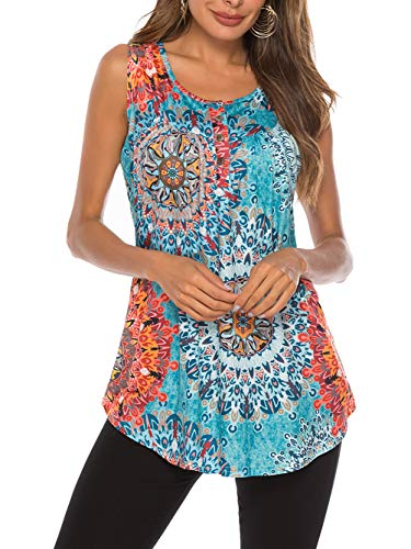 (Famulily Women's Floral Print Loose Casual Flowy Tunic Tank Top X-Large Green)