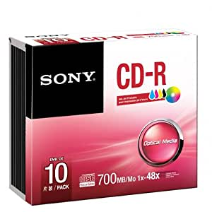 Sony Cd-R 80Min / 700Mb / 48X Caja Delgada (10 Discos) De Inyección De Tinta Para Imprimir, Superficie Blanca