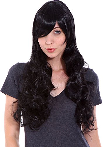 Colonel Costumes Halloween Sander (Simplicity New Stylish Long Layered Black Wavy Wig with Free Net Hair Cap)