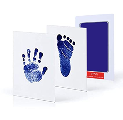 Dsaren Almohadillas de Tinta de Huella de Bebé Recien Nacidos, Regalo de la Ducha del Bebé (Azul)