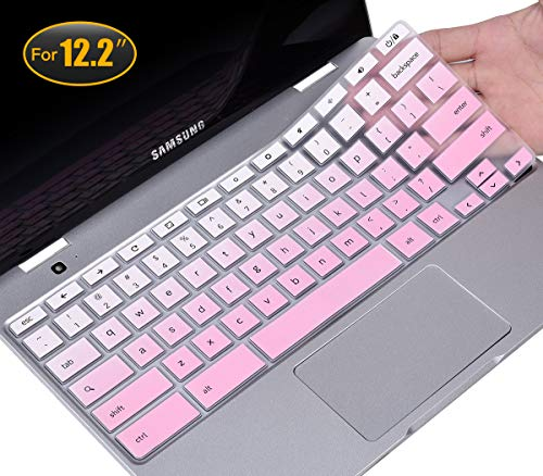CaseBuy Keyboard Cover Compatible 2019 2018 Samsung Chromebook Pro 12.2 / Samsung Chromebook Plus XE520QAB XE525QBB XE521QAB 12.2 inch Anti Dust Waterproof Protective Skin, Gradual Pink