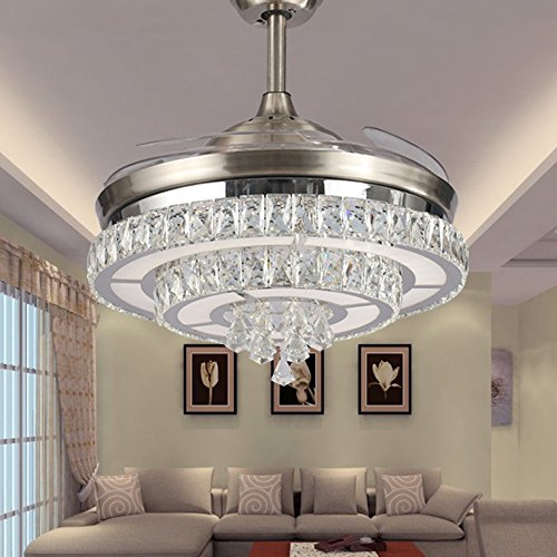 Huston Fan 42-Inch Decorative Ceiling Fan Remote Control Crystal Ceiling Fan With Retractable Blades Bedroom Chandelier Living Room Ceiling Light (42 Inch, Silver5)