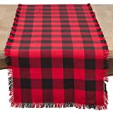 SARO LIFESTYLE Birmingham Collection Fringed Buffalo Plaid Cotton Table Runner, 16'' x 72'', Red