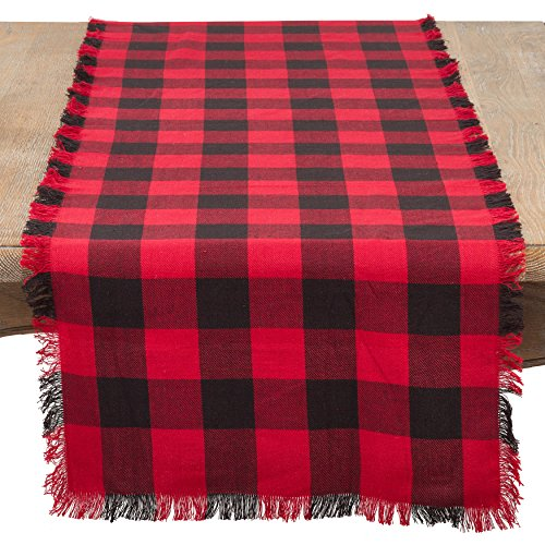 SARO LIFESTYLE Birmingham Collection Fringed Buffalo Plaid Cotton Table Runner, 16
