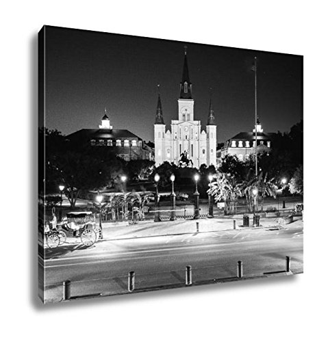 Ashley Canvas St Louis Cathedral And Jackson Square In New Orleans French Quarter As Night, Home Office, Ready to Hang, Black/White 20x25, AG6466342 Jackson Square Light