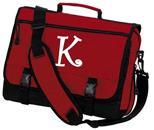Personalized Laptop Bag Monogrammed Messenger Bag Red ()