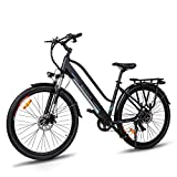 28' Electric Trekking Bike, Cruiser 550 Electric Bicycle with 36V/10Ah Removable Lithium-ion Battery, Front Suspension, Dual Disc Brakes, Electric Trekking Bike for Touring