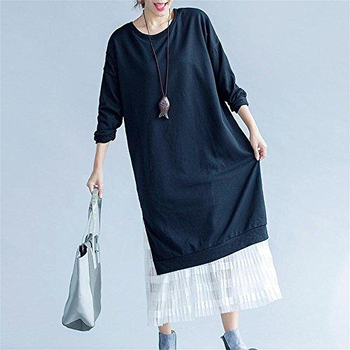 Nuan Jia Feng vestido de otoño nuevas mujeres de gran tamaño de grasa mm jersey de algodón fino encaje doble , black , one size Black