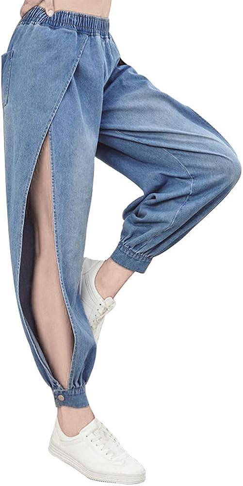 Women's Sexy Side Split Jeans Trousers