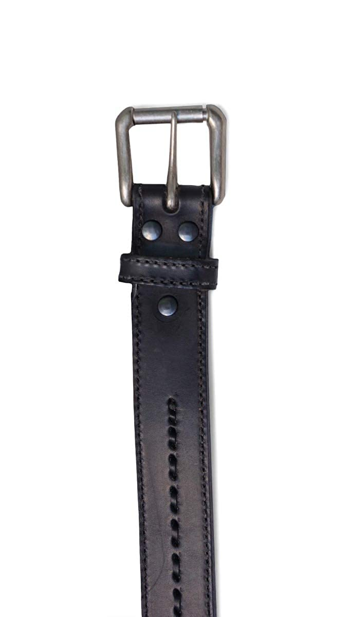 USA Made R.G Mens 1-1//2 Genuine Premium Full Grain Leather Belt with Edge Stitch /& Center Rawhide Stitch BULLCO