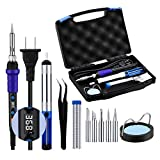 Soldering Iron Kit, TopElek 65W Adjustable Temperature Welding Soldering Iron With LED Digital Display, Durable Welding Tools With 5 Tips, Solder Sucker, Wire, Tweezers, Cleaning Sponge, Carry Case