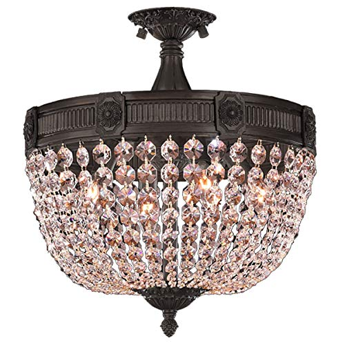 Worldwide Lighting Winchester Collection 4 Light Flemish Brass Finish and Clear Crystal Semi Flush Mount Ceiling Light 16