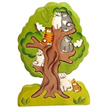 3D Wooden Jigsaw Puzzle - Cats on a Tree - Waldorf Stacking Handcarved and Hand-painted Toy