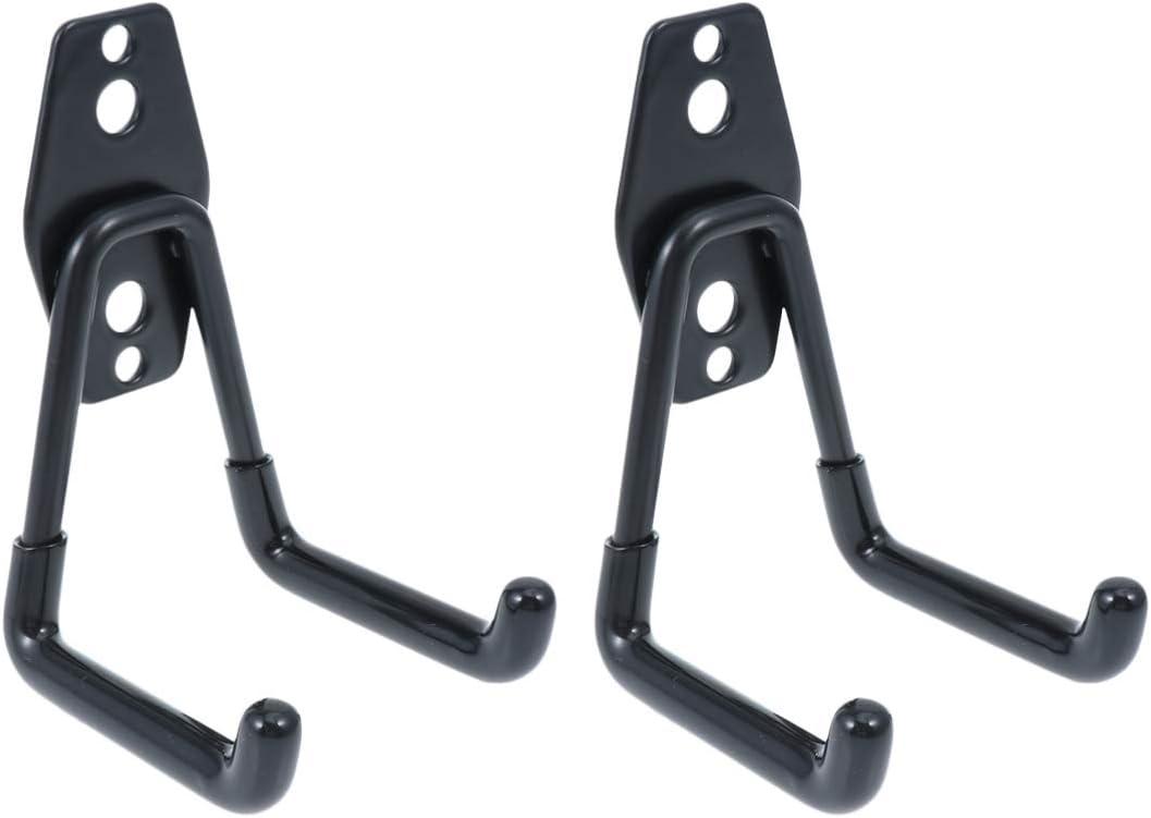 DOITOOL 2 piezas Gancho para Colgador de Garaje dobles Ganchos de almacenamiento de garaje Gancho de Bicicleta de Pared para organizar herramientas,escaleras,bicicletas (negro,11 x 7 x 1 cm)