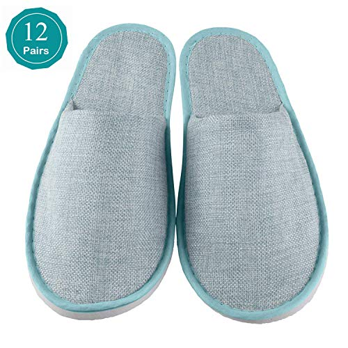 Xiaofeisi Spa Slippers 12 Pairs Unisex Comfortable Closed Toe Non-Slip Disposable Slippers for Men & Women, Perfect for Home, Hotel Or Commercial Bulk Use Linen Blue