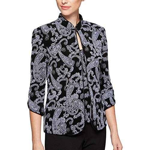 Alex Evenings Womens Petites Embellished Paisley Print Twinset Purple PL