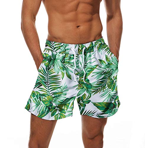 Dovava Men's Swim Short Trunks with Mesh Lining Quick Dry Swimwear Boardshorts Above Knee with Pockets, Jungle-Green Medium (Waist 32
