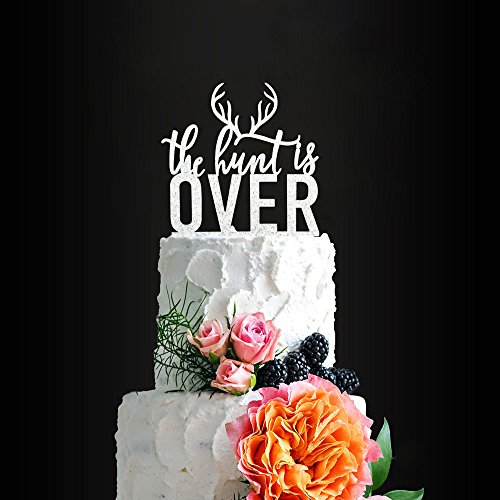Glitter Silver The Hunt Is Over Romantic Wedding Cake Topper, Elegant Cake Topper For Wedding Anniversary, Wedding Party Decorative Cake Toppers, Birthday Cake Topper Acrylic Cake Topper for $<!--$8.99-->